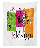 Lunarable Fashion Tapestry Twin Size, Colorful Illustration with Women Silhouettes Commercial Design Abstract Compoistion, Wall Hanging Bedspread Bed Cover Wall Decor, 68 W X 88 L Inches, Multicolor