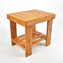 Utoplike Bamboo Bathtub Shower Seat Bench/Stool with Storage Shelf and Non slip Feet Indoor and Outdoor Bench (Small)