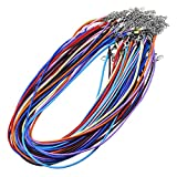 Mandala Crafts Bulk 50 DIY Jewelry Making Korean Waxed Cord Necklace Chains for Pendants (Mixed Colors)