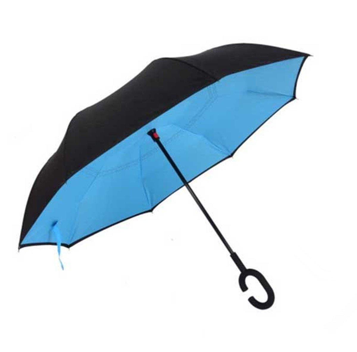 Parapluie inversé Manfâ, Parapluie coupe-vent, Parapluie inversé, Parapluies pour femmes avec protection UV, Parapluie à l'envers avec poignée en forme de C avec sac de transport