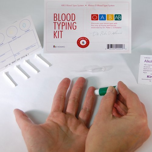 Blood Type Kit – Also Includes: 1 Eldoncard, 1 Lancet, Alcohol Wipe, Plastic dropper, 4 Eldon Sticksn