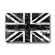 Black and White British Flag Non-slip Doormat,The Union Jack Flag Floor Mat Door Mat Rug Indoor/Outdoor/Front Door/Bedroom Mats 23.6(l) X 15.7(w) Inch