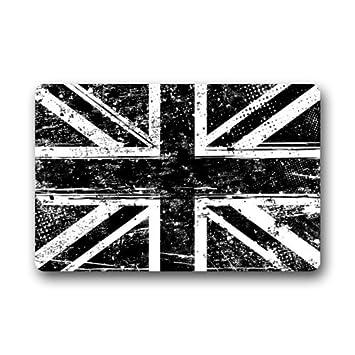 Black And White British Flag Non Slip Doormat,The Union Jack Flag Floor Mat