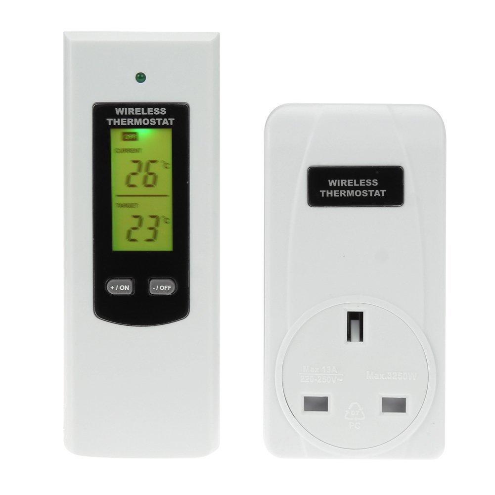 Termostato digital, mando a distancia inalámbrico, RF, enchufe, cultivo hidropónico, con enchufe de Reino Unido : Amazon.es: Jardín