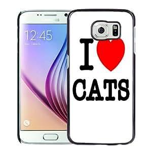 Fashion Custom Designed Cover Case For Samsung Galaxy S6 I Love Cats Black Phone Case