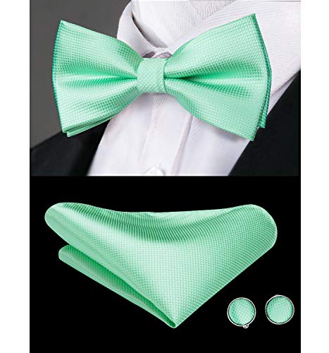 Dubulle Mens Mint Green Pre tied Bow Tie and Pocket Square Set for Wedding -