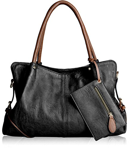Womens 3 Piece Tote Bag Leather Handbag Purse Bags Set (Black) - 7