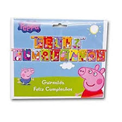 CAPRILO Lote de 2 Guirnaldas Decorativos Infantiles Peppa ...