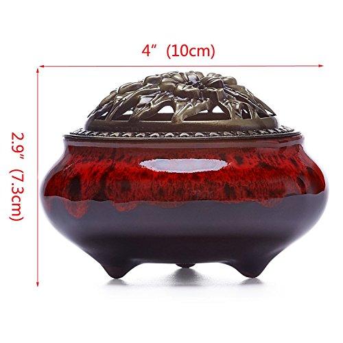 UOON Ceramic Stick Incense Burner and Cone Incense Holder Ash Catcher (Red) - incensecentral.us