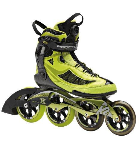 (K2 Skate Men's Radical X Boa Racing Inline Skates, Lime/Black, 11)