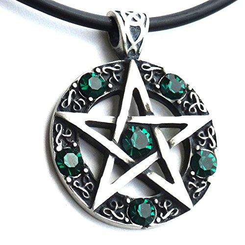 - OhDeal4U Dark Green Crystal Wiccan Pagan Magic Star Pentacle Pentagram Pewter Pendant