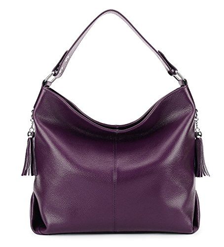 - BIG SALE-AINIMOER Womens Leather Vintage Shoulder Bag Ladies Handbags Tote Top-handle Purse Cross Body Bags (Purple)