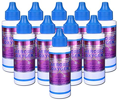 [Pack of 10] Aerobic Oxygen® (2oz) w/dropper tip. Boost energy, add oxygen to your drinks. Purify water - use it for emergency preparedness kits, camping, hiking, or working out