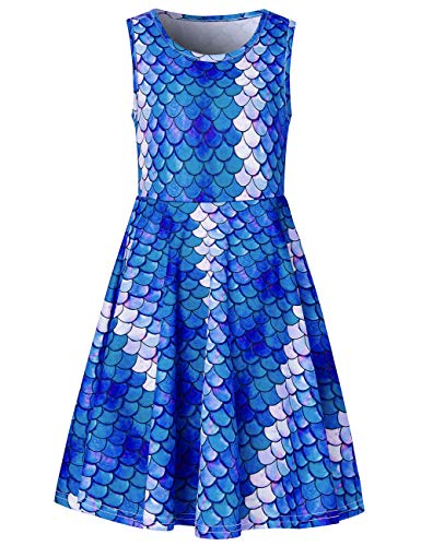 RAISEVERN Toddler Girl's Mermaid Dress Sleeveless Sundress Cute Crew Neck Blue Fish Scale Dresses Summer Holiday Beachwear for Child 4-5T