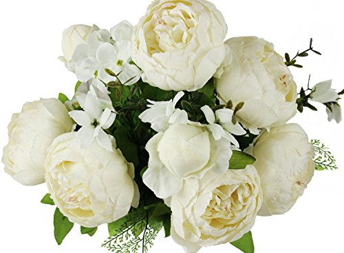 Homeditor Artificial Peony Flowers,Real Touch Silk Peony Flowers for Home Office Parties Wedding and Bridal Bouquet 1 bunch with 13 Stems (Milk White) (Rose Peony Bouquet)