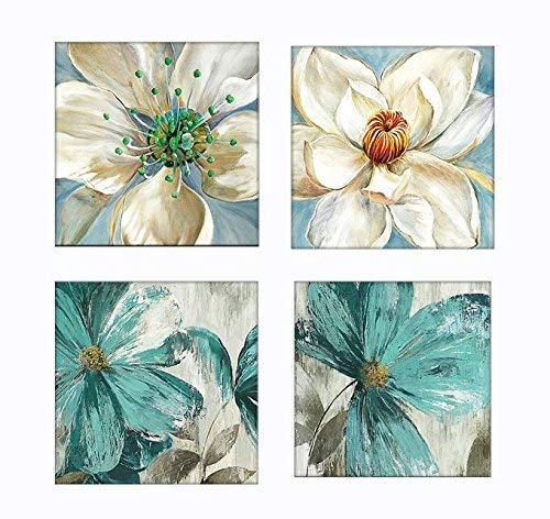 (Orchid Floral Wall Decoration, White and Teal Vintage Wall Art Canvas Print)