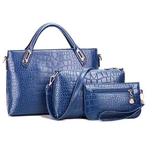 Women Fashion Synthetic Leather Handbags+Shoulder Bag+Purse 3pcs Set Tote