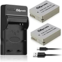 OAproda 2 Pack Replacement NB-10L Battery and Ultra Slim Micro USB Battery Charger for Canon PowerShot G15, G16, G1X, G3X, SX40 HS, SX40HS, SX50 HS, SX60 HS Digital Camera