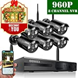 【2019 Update】 OOSSXX HD 1080P 8-Channel Wireless Security Camera System,6 pcs 960P 1.3