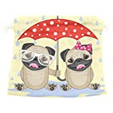 Dragon Sword Two Dogs With Umbrella Gift Bags Jewelry Drawstring Pouches for Wedding Party, 12.6x17 Inch
