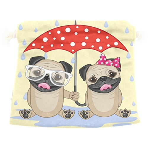 Dragon Sword Two Dogs With Umbrella Gift Bags Jewelry Drawstring Pouches for Wedding Party, 12.6x17 Inch by Dragon Sword