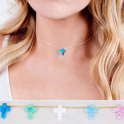 Opal Cross Choker Necklace in Gold Filled/Sterling Silver/Rose Gold - Handmade Minimal Necklace