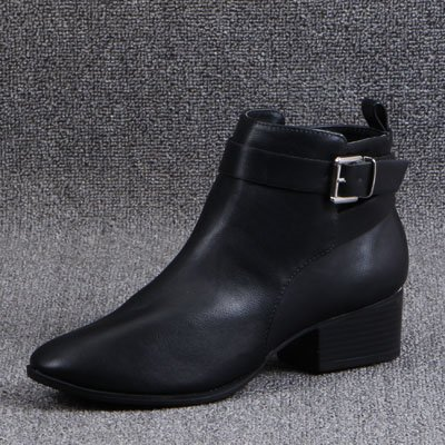 GAOLIM Head Ladies F Home With Chelsea Ladies Autumn And Licensing Round Buckle Boot Winter Boot Black x0qSr0wX4