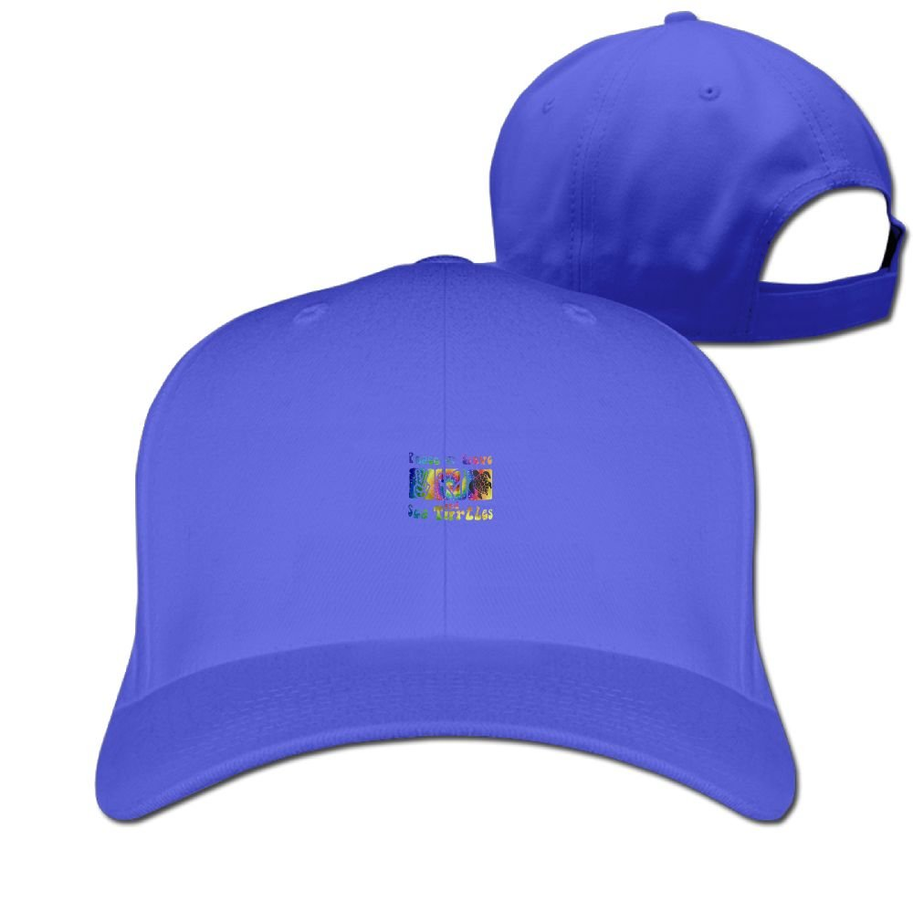 Peace Love and Sea Turtles Unisex Sandwich Snapback Cap Solid Color Hats