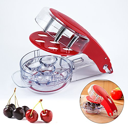 (Locisne Revolutionary Cherry Pitter Olive Tool - 6 Cherries Red Remover with Pit and Juice Container)