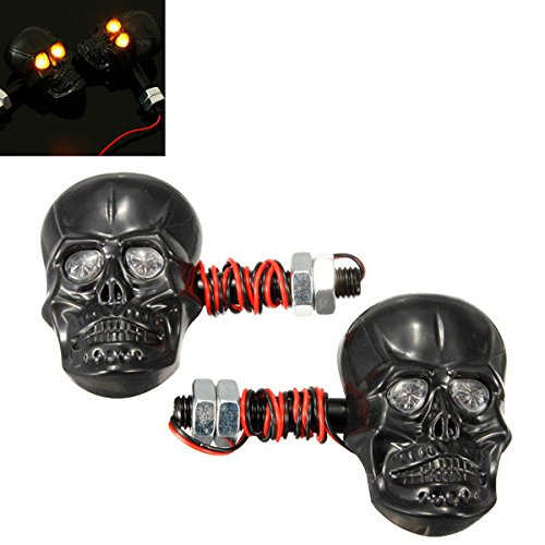 Pink Lizard Motorcycle Skeleton Head Skull Turn Signal Light Indicator 12V 0.5W