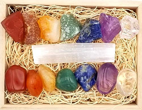 (ZATNY Premium Healing Crystals Chakra Gift Kit in Wooden Box - 7 Chakra Set Stones + E-Book + 20x6 Reference Guide Poster, Gift Ready (Raw & Tumble Collection))
