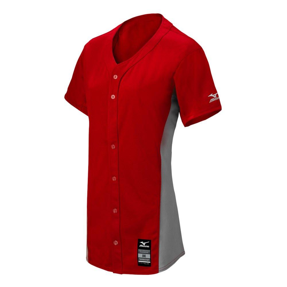 MizunoレディースPro full-button Game Jersey B074C243RQ 3X-Large Red Grey Red Grey 3X-Large