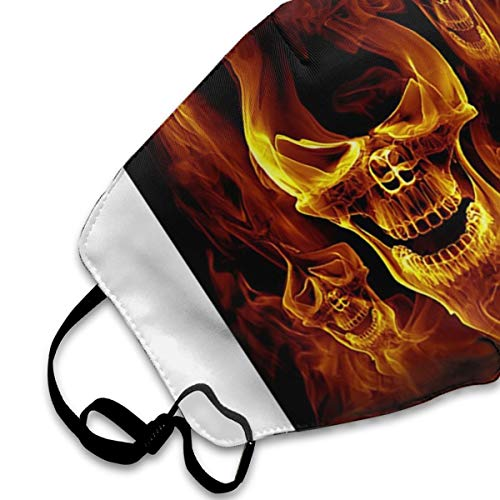 Red Burnning Flame Skeleton Skull Head PM2.5 Mask, Adjustable Warm Face Mask Unique Cover Filters Blocking Pollen Pollution Germs,Can Be Washed Reusable Pollen Masks Cotton Mouth Mask For Men Women