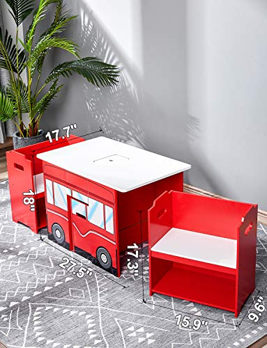 kealive Kids Table and Chairs Wooden Fire Truck Shape 4�Pieces�Table�and�Chairs�Set for Toddler Activity Table Durable Play Around Furniture Set with Storage, Kids' Learning Desk