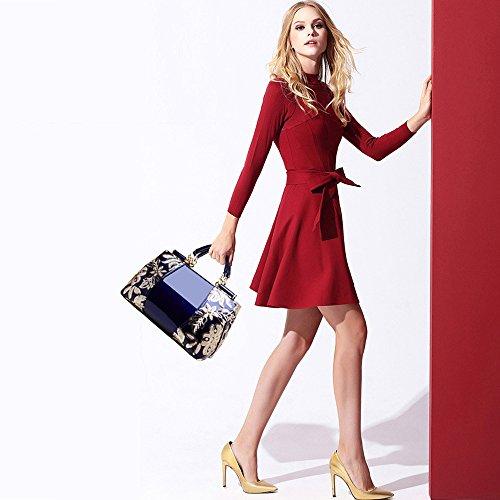 con a Moda Borse spalla Reale PU Borse Verniciata Firmate Blu Tisdain a Borsetta Paillettes Mano Tracolla Elegante Grande Pelle Donna Ricamo 80nqfnI