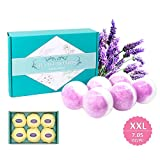 AROMUSBlOOM Large Bath Bombs XXL 6 x 7.05 oz Gift Set, Organic and Natural Bath Bomb Kit, Lush Fizzy Spa to Moisturize Dry Skin, Best Gift Ideas for Women, Girlfriend and Kids(Lavender)