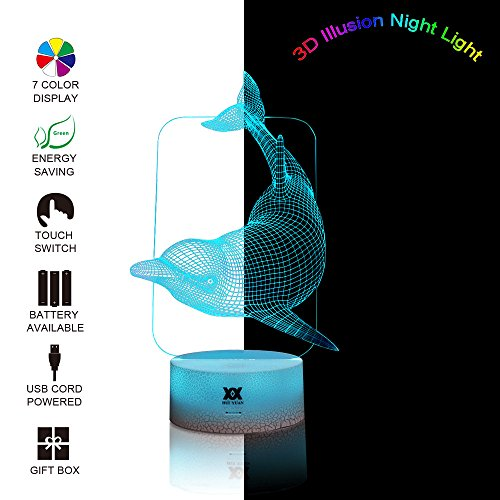 Children Gift 3D Night Light Dolphin Xmas Chirstmas Halloween Birthday Gift Nursery Bedroom Table Night Lamps Light by HUI YUAN (Ideas For A Halloween Night)