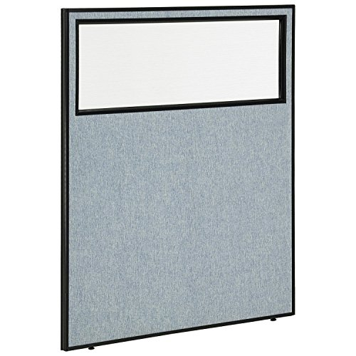 48-1/4W x 60H Office Partition Panel with Partial Window, Blue
