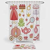 Kids Decor Shower Curtain And Floor Mat Combination Set Princess Tiara Tea Party Mirror Teapot Tea Party Frog Crown Fairy Cupcake Girls Decorative For decoration and daily use