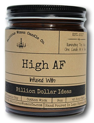 Malicious Women Candle Co. High AF, Exotic Hemp (Cannabis Flower & Patchouli) Infused with Billion Dollar Ideas, All-Natural Organic Soy Candle, 9 oz - Exotic Natural