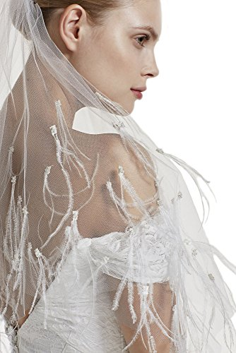 Gogh White ne Tier 36'' Fingertip Wedding Bridal Veil Full With ostrich feather Pearls 38 by Gogh