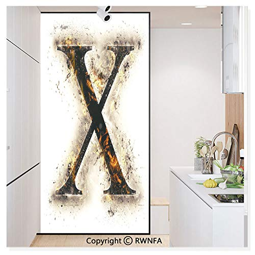 Decorative Window Film,Cross Shaped Letter in Flames Charred Background Capital X Alphabet Print Static Cling Glass Film,No Glue/Anti UV Window Paper for Bathroom,Office,Meeting Room,Bedroom,Tan Blac