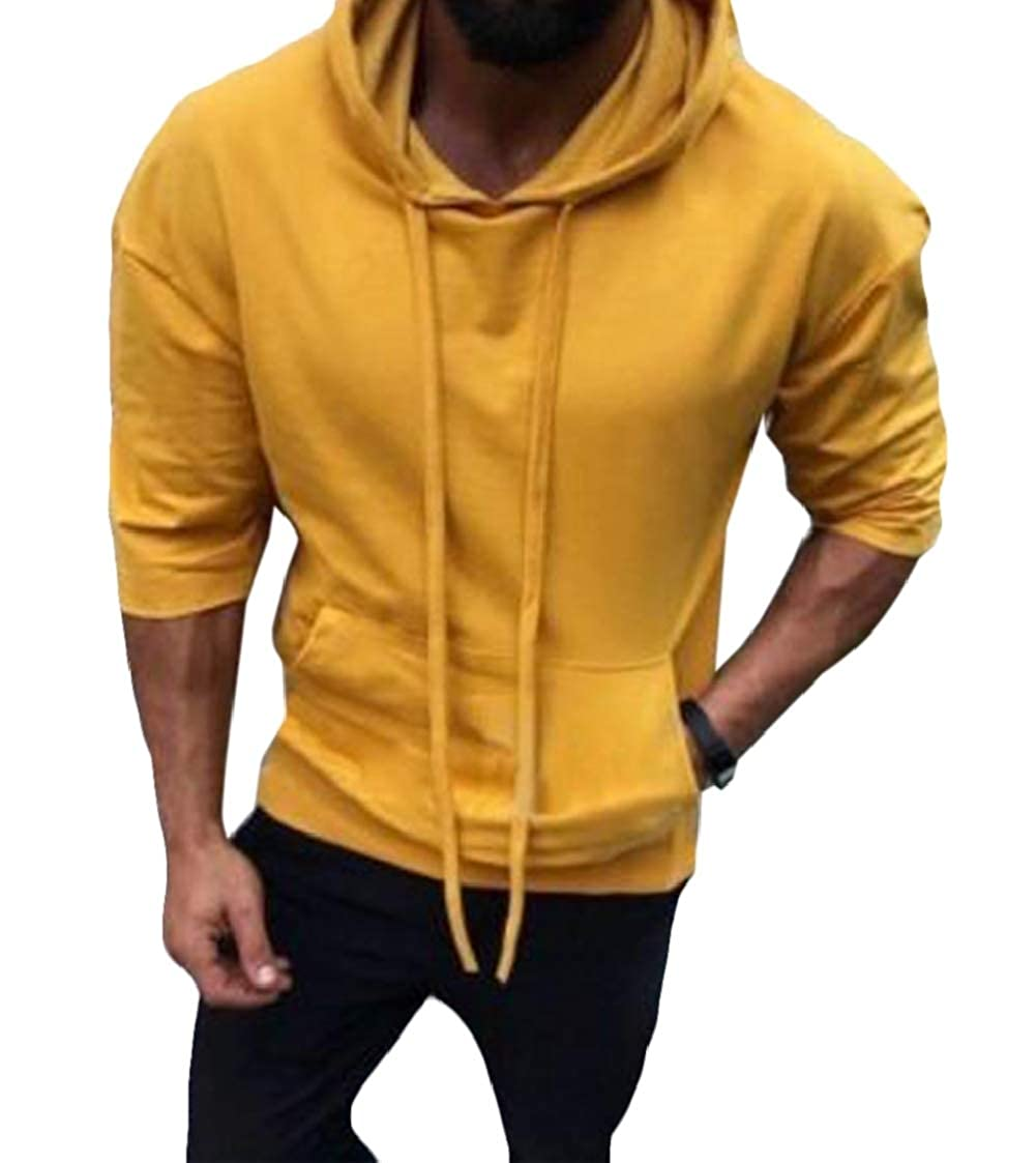 Abeaicoc Men Hooded Pullover Pocket Solid Color Long Sleeve Sweatshirt