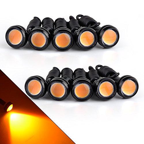 YITAMOTOR 10x Eagle Eye 23mm Motor Car 9W LED Daytime Running DRL Tail Backup Yellow/Amber Bulbs