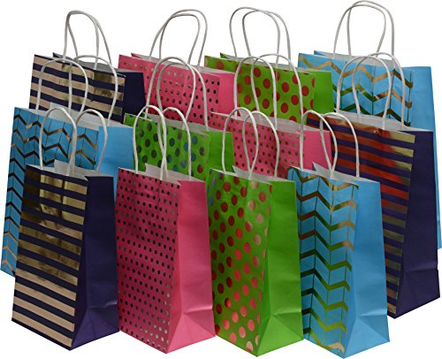 Kraft King Gift Bag Assortment - bulk set of 28 bags, small, medium, large, colors: gold designs, blue, green, purple and pink