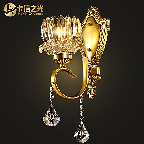 Brass Sconce Porcelain (Industrial Vintage Wall Sconces A Brass Wall Lights Antique Crystal Bedroom Living Room Wall Bed Copper Light 1520H43CM)