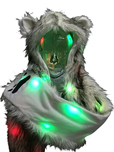Light Up LED Color Changing Rave Spirit Animal Fluffy Fur Hat Hood (Wolf) ()