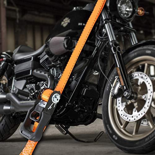 Trekassy Tie Down Straps Ratchet Heavy Duty 4 Pack - 15 Ft - 3450 lbs Max Break Strength - Bonus 4+2 Soft Loop Anchoring Straps for Securing Motorcycles by Trekassy (Image #5)