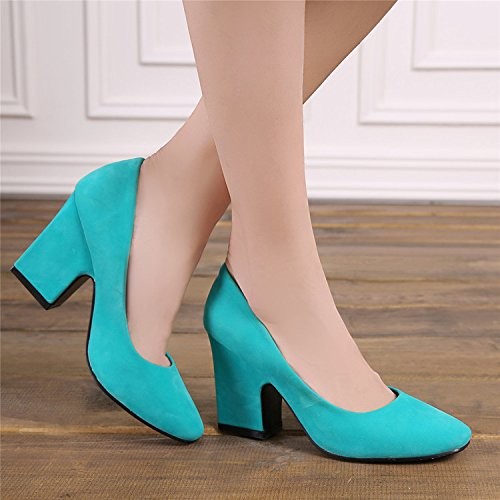Square High De Chaussures Heels 37 Blue Ladies Size Rough With Large Shoes Fête Wedding Xie Simple Head vpqAw