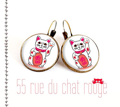 Earrings cabochon Maneki Neko cat, good luck charm, Chinese cat, cat japonnais, gift,